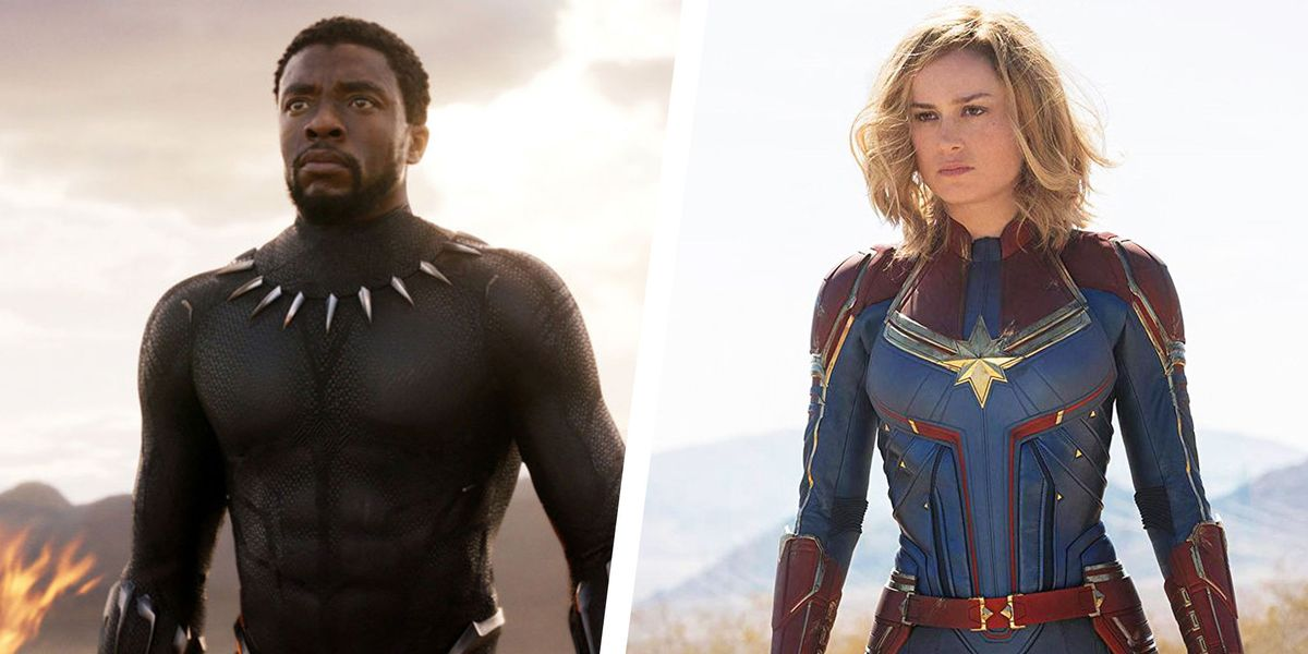Chadwick Boseman as T'Challa/Black Panther and Brie Larson as Captain Marvel
