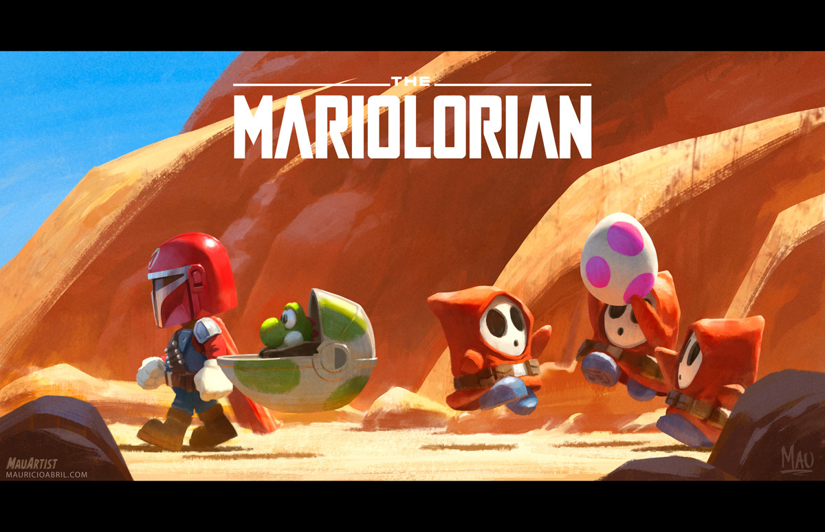 Mandalorian crossover art, The Mariolorian