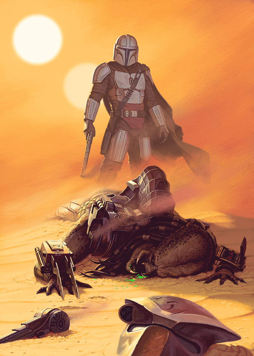 The Mandalorian crossover fan art, Mando vs Predator