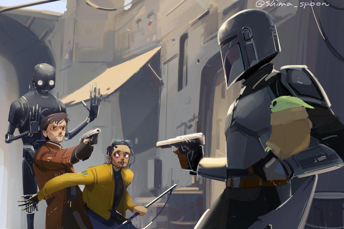 The Mandalorian crossover fan art, The Mandalorian vs. Rogue One