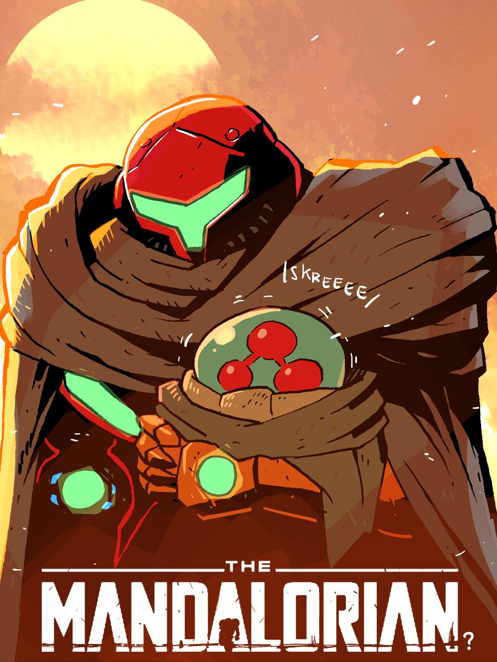 The Mandalorian crossover fan art, Metroidlorian